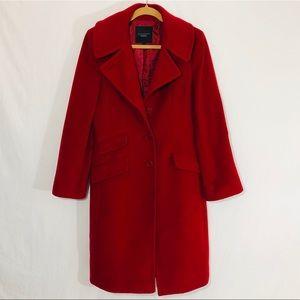 Talbots Red Trench Coat Wool Button Down Pockets